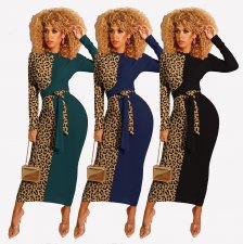 Leopard Printed Patchwork Long Sleeve Sashes Maxi Dress IV-8060