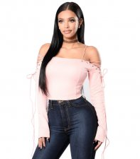 Women Long Sleeves Strapless Crop Top ZS-G036