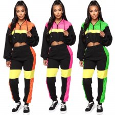 Contrast Color Hooded Tracksuit Two Piece Sets YMT-6110