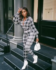 Plaid Printed Long Sleeves Casual One Piece Jumpsuits LQ-5097