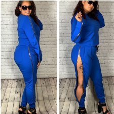 Solid Long Sleeve Side Zipper Pants 2 Piece Sets YH-5104