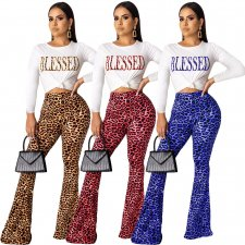 Leopard Print Long Sleeve Flared Pants 2 Piece Sets ML-7258
