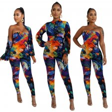 Sexy Printed Strapless Jumpsuits And Jacket 2 Piece Sets BY-3307