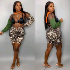 Sexy Leopard Print Mesh Patchwor Two Piece Shorts Set OJS-9162