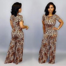 Leopard Print Short Sleeve Wide Leg Pants 2 Piece Sets SHA-6102