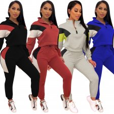 Casual Patchwork Tracksuit Two Piece Sets CM-619