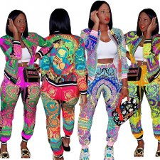 Plus Size Printed Jacket And Pants 2 Piece Sets LQ-5101