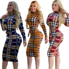 Plaid Printed Long Sleeve Zipper Midi Dresses LQ-5102