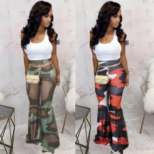 Casual Camouflage Print Long Flared Pants TK-6042