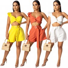 Sexy Wrap Chest Crop Top Shorts Two Piece Sets YIY-5121