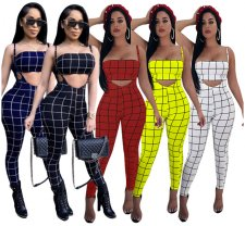 Plaid Print Strapless Crop Top + Bodycon Pants 2pcs BN-9065