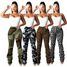Camouflage Leopard Print Casual Ruching Long Pants MA-280