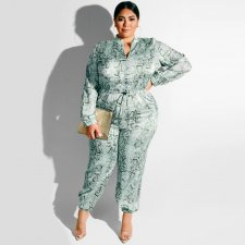 Plus SIze 5XL Snake Skin Print One Piece Jumpsuits OSS-19376