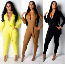 Solid Zipper Long Sleeve One Piece Jumpsuits AIL-059