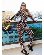 Geometric Print Casual Zipper Two Piece Outfits YNB-7038
