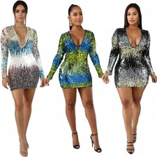 Colorful Sequin V Neck Long Sleeve Mini Dresses LA-3143