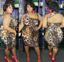 Plus Size 4XL Leopard Print Backless Bodycon Dresses OMF-113
