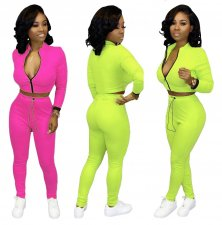 Solid Zipper Long Sleeve Fitness Two Piece Sets AIL-063