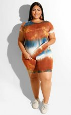 Plus Size 4XL Tie Dye Short Sleeve Two Piece Sets OMF-089