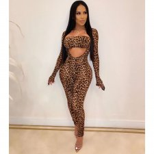 Sexy Leopard Print Long Jumpsuits With Tube Tops OSM-3291