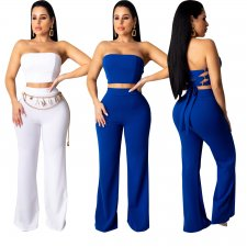 Solid Lace Up Tube Top And Pants Sexy 2 Piece Sets CHY-1195