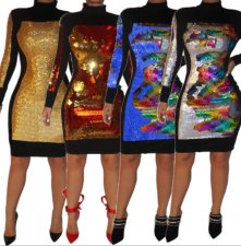 Sexy Sequin Patchwork Long Sleeve Bodycon Dress CYA-8181