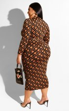 Big Size 4XL Geometric Print High Waist Long Dresses OMF-033