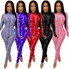 Letter Print Stripe Long Sleeve One Piece Jumpsuits TK-6048