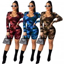 Camo Print Short Jacket+Playsuit Two Piece Sets ML-7257