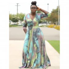 Big Size 4XL Long Sleeve V Neck Printed Maxi Dress OMF-103