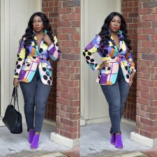 Trendy Colorful Printed Sashes Blazer Coat CYA-8202