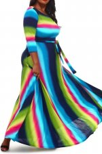 Big Size 4XL Colorful Stripe Sashes Maxi Dress OMF-048