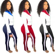 Plus Size Casual Tracksuit Zipper Two Piece Sets QY-5145