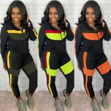 Casual Hooded Zipper Two Piece Pants Sets OYF-8175