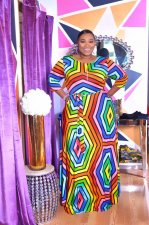 Plus Size 4XL Colorful Stripe Three Quarter Sleeve Maxi Dress OMF-024