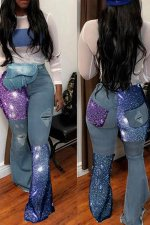 Trendy Denim Patchwork Holes Flares Jeans LA-3157
