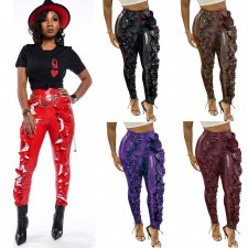 Plus Size Sexy PU Leather Ruffles Skinny Long Pants YNB-7047