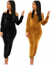 Plus Size Solid Salsh Neck Velvet Two Piece Pant Sets MOY-5155