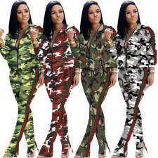 Plus Size Camouflage Print Zipper Two Piece Sets YNB-7048