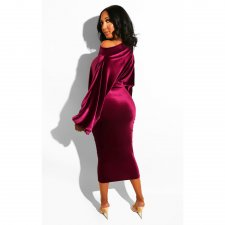 Sexy Velvet Slash Neck Long Sleeve Midi Dresses ASL-6091