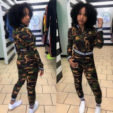 Camouflage Print Zipper Long Sleeve 2 Piece Sets MK-2043