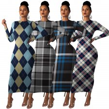 Plaid Print Long Sleeve O Neck Maxi Dresses MA-286