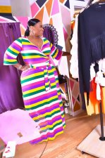 Big Size Rainbow Stripe Three Quarter Sleeve Maxi Dress OMF-023