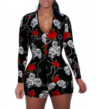 Sexy Printed V Neck Long Sleeve Playsuit BT-002