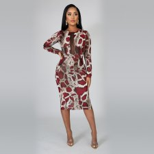Snake Skin Print Mesh Patchwork Midi Dress YD-8158