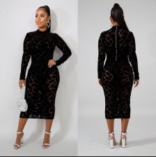 Plus Size 6XL Geometric Print Long Sleeve Midi Dress OSM-3296