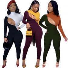 Contrast Color Turtleneck Sexy Bodycon Jumpsuits PIN-8476
