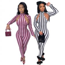 Sexy Striped Hollow Long Sleeve Bodycon Jumpsuits YF-9545