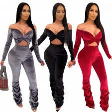Sexy Off Shoulder Pleated Bodycon One Piece Jumpsuit WZ-8251