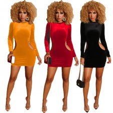 Sexy Hollow Out Long Sleeves Velvet Bodycon Dress LUO-3043